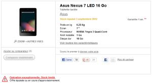 Nexus 7 à la FNAC
