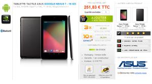 Nexus 7 chez materiel.net