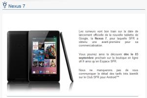Nexus 7 chez SFR